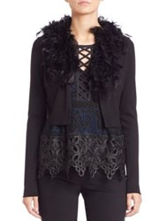 Nanette Lepore Feather Cardigan Black