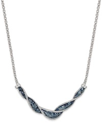 Wrapped In Love White And Blue Diamond Twist Necklace In Sterling Silver 1 Ct. T.W.