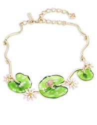 Oscar De La Renta Lily Pad And Pave Frog Statement Necklace Green