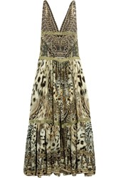 Camilla Espiritu Lace Trimmed Printed Silk Dress Army Green