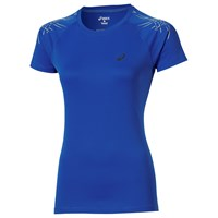 Asics Stripe Short Sleeve Running Top Blue
