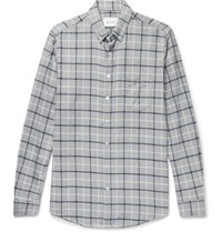 Steven Alan Button Down Collar Checked Brushed Cotton Shirt Gray