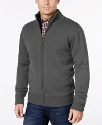 Weatherproof Vintage Men's Lined Zip Front Cardigan Charcoal Heather