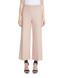 Rebecca Taylor Palazzo Cropped Wide Leg Suiting Pants Tea Rose Navy