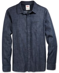 Levi's Men's Greg Denim Long Sleeve Shirt Dark Rinse