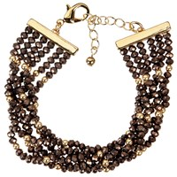 John Lewis Multi Row Sparkle Bead Bracelet Brown Gold