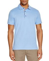 Robert Graham Stoked Stripe Placket Slim Fit Polo Shirt 100 Bloomingdale's Exclusive Light Blue