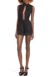 J.O.A. Women's Plunging Embroidered Lace Romper