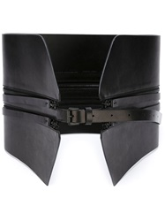 Ann Demeulemeester Zip Detail Wide Belt Black