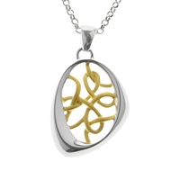 Nina B Sterling Silver Asymmetric Gold Plated Threads Pendant Silver Gold