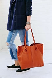 Bdg Worn Leather Tote Bag Orange