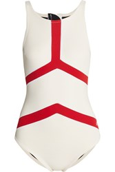 Perfect Moment Nordic Neoprene Swimsuit White Red