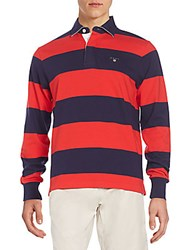 Gant Regular Fit Striped Rugby Shirt Rosso