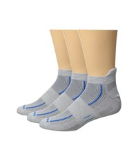 Wrightsock Stride 3 Pack Light Grey Blue Crew Cut Socks Shoes Gray