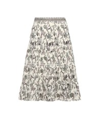 Tory Burch Floral Printed Cotton Skirt Multicoloured