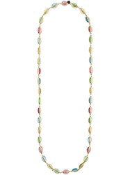 Chanel Vintage Poured Glass Necklace Metallic