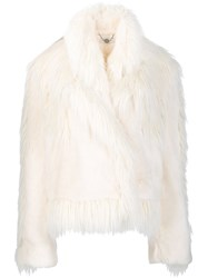 Stella Mccartney Oversized Faux Fur Jacket White
