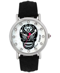 Betsey Johnson Women's Silver Tone Skull Black Leather Strap Watch 39Mm Bj00515 01
