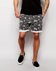 Asos Chino Shorts In Mid Length With Elasticated Waist Black
