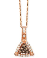 Le Vian Chocolatier Chocolate And Vanilla Diamond Triangle Pendant Necklace 1 4 Ct. T.W. In 14K Rose Gold