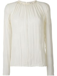 Nina Ricci Pleated Long Sleeve Blouse Nude And Neutrals