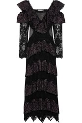 Alessandra Rich Ruffled Metallic Lace And Point D'esprit Gown Black