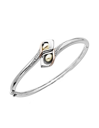 Lord And Taylor Sterling Silver Bangle Bracelet With 14Kt. Rose Gold Pearl And Diamond Accent