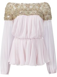 Marchesa Embellished Blouse Pink And Purple