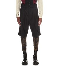 Dries Van Noten Paceybis Pinstripe Wool Shorts Navy
