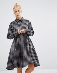 Lazy Oaf Shirt Smock Dress In Gingham With Bored Slogan Grey