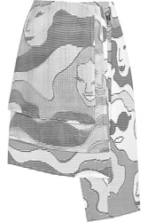 Opening Ceremony Ascii Layered Printed Chiffon And Crepe Skirt
