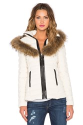 Mackage Adalina Jacket With Raccoon Fur Trim White