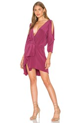 Michelle Mason Open Shoulder Drape Dress Fuchsia