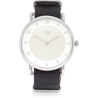River Island Mens Black Silver Face Watch