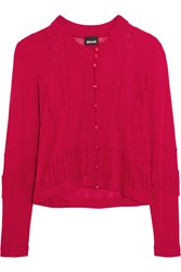 Just Cavalli Pointelle Paneled Crochet Knit Cardigan Red