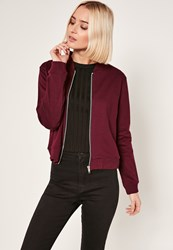 Missguided Burgundy Tall Loop Back Jersey Bomber Jacket Plum
