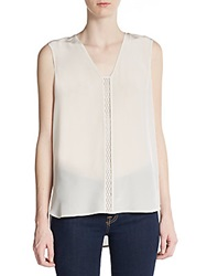 Vince Laser Cut Leather Paneled Silk Blouse Beige