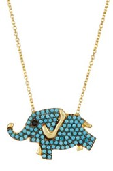 Gab Cos Designs Gold Vermeil Cz Accented Elephant Necklace Blue