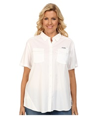 Columbia Plus Size Bonehead Ii S S Shirt White Women's Short Sleeve Button Up