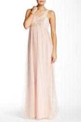 Bcbgeneration Sleeveless V Neck Tulle Lace Gown Pink