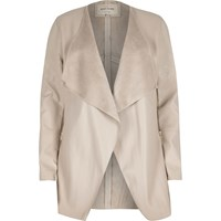 River Island Womens Cream Leather Look Draped Jacket