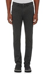 Barneys New York Men's Ponte Knit Slim Fit Trousers Dark Grey