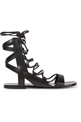Sigerson Morrison Bunny Lace Up Leather Sandals Black