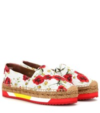 Dolce And Gabbana Wedge Fabric Espadrilles White