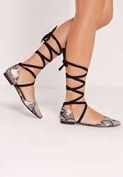 Missguided D'orsay Ballerina Tie Ankle Strap Snake Shoe Grey Grey