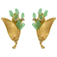 Eclectica Vintage 1970S Gold Plated Glass Stone Leaf Clip On Earrings Gold Green