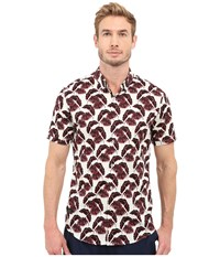 7 Diamonds Lost In Paradise Short Sleeve Shirt Maroon Men's Short Sleeve Button Up Red