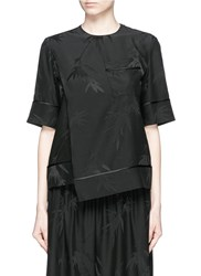 Ms Min Bamboo Leaf Silk Jacquard Top Black