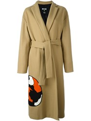 Msgm 'Cat' Patch Mid Length Coat Nude And Neutrals