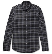 Tom Ford Slim Fit Button Down Collar Plaid Brushed Cotton Shirt Gray